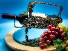 More details for vintage silver metal beautifully decorated grapes design wine holder
