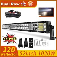 52inch Curved LED Light Bar 1020W Flood Spot Combo For Roof Offroad SUV 4x4 12V