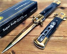 """8.75"""" Italian Milano Italian Damascus Assisted Open Pocket Knife Knives - B GOL"""