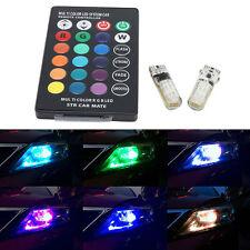 T10 W5W 5050 12SMD RGB LED Remote Control Multi Color Light Car Wedge Bulbs Side