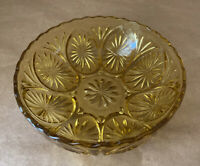 Vintage Amber Pressed Glass Starburst Pattern Scalloped Edge 8 Inch Serving Bowl