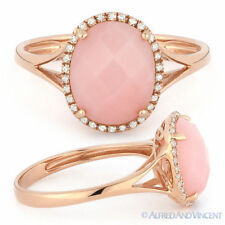 2.29 ct Checkerboard Oval Cut Pink Opal Diamond Halo Cocktail Ring 14k Rose Gold
