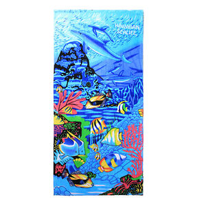 Hawaii Beach Towel 100% Cotton Large 60x30 Blue Sealife Fish Coral Dolphin Water