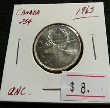 Canada 1965 25 cents UNC. Silver QEII Very Nice High Grade Quarter Coin (#B61)