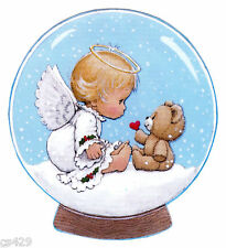 "5.5"" PRECIOUS MOMENTS ANGEL BEAR  CHRISTMAS HOLIDAY WINDOW CLING DECAL CUT OUT"