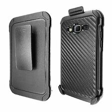 For Samsung Galaxy Grand Prime Hybrid Carbon Fiber Holster Phone Case