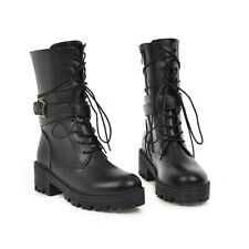 Military womens Combat Ankle Boots Chunky Heels Lace Up Buckle Punk Shoes NEW