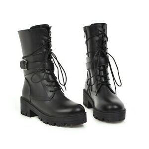 Military Ladies Combat Ankle Boots Chunky Heels Lace Up Buckle Punk Shoes All SZ