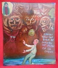 Mexican Folk Art Man Flees Cave Of Evil Faces Painted Tin Retablo Ex Voto