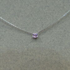 PINK SAPPHIRE SOLITAIRE NECKLACE 14K WHITE GOLD 4 PRONG SETTING 3MM 0.13CT