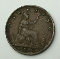 Dated : 1860 - One Farthing - 1/4d Coin - Queen Victoria - Great Britain