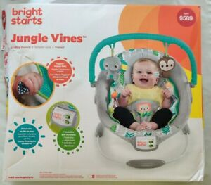 Bright Starts Cradling Bouncer Seat w/ Vibration & Melodies, Jungle Vines, READ