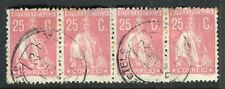 Portogallo; 1920s precoce CERES TIPO FINE utilizzato 25c. STRISCIA di 4