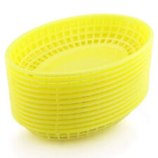 BarBits Yellow Oval Fast Food Baskets Set of 12 - American Plastic Burger Chips