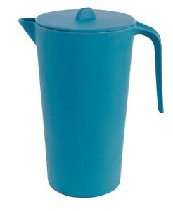 NEW BLUE JUG Bamboo Garden Picnic Serving Pouring Tall Jug Lid Handle Unboxed
