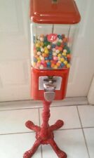 Vintage Penny Gumball Machine In Red Includes Key And Base.