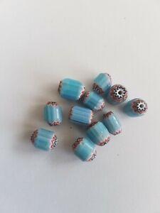 Perles Artisanale chevron en pate de verre bleue