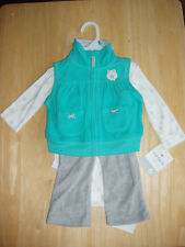 Carters girls 3 piece outfit fleece trousers, top, bodysuit owl theme 6 months