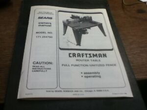 Sears Craftsman Owners Manual Router Table Model 171.254790
