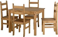 Corona Mexican Dining Set in Distressed Waxed Pine with 4 Chairs
