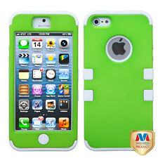 FOR APPLE IPHONE 5 GREEN WHITE HEAVY DUTY SKIN COVER CASE + SCREEN FILM
