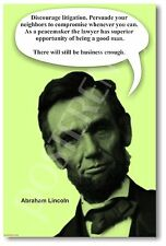 """Abe Lincoln """"Discourage Litigation...""""  NEW Lawyer Legal Advice Wisdom POSTER"""
