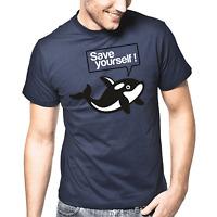 Save yourself Wal Orca Killerwal Tierschutz Wale Sprüche Geschenk Lustig T-Shirt