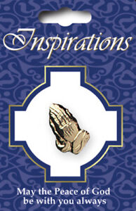 Christian Praying Hands Lapel Pin Prayer Badge Button Gold FREE P&P Qty Discount