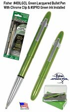 Fisher #400LGCL-3 / Lime Green Bullet Space Pen with Clip & Green Ink