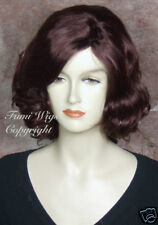 Shoulder Length Side Parting Wig in Dark Burgundy / 100% Quality Japanese Fibre