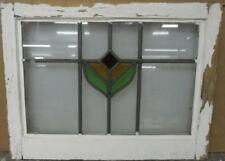 "OLD ENGLISH LEADED STAINED GLASS WINDOW Simple Abstract Design 21.5"" x 16.5"""