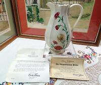 "VINTAGE LENOX USA CHRYSANTHEMUM GOLD TRIM 8 1/4"" PANELED PITCHER WITH COA 1988"