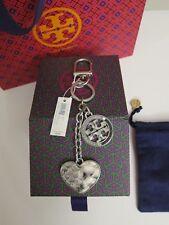 NWT Tory Burch Logo & Heart Natural Embossed Key Fob Chain Perfect Bag Charm