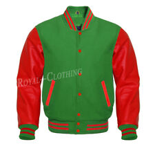 Letterman Baseball Varsity Green Wool and Genuine Red Leather Sleeves Jacket