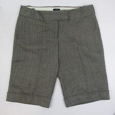 J Crew Bermuda Walking Shorts Womens Grey Herringbone Wool City Fit Size 8 Lined