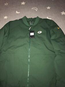 Nike Shield Green Bay Packers NFL Sideline Bomber Jacket Coat Men's Size 2XL