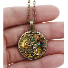Steampunk Metal Glass Cabochon Gear Time Gem Pendant Necklace Statement Jewelry