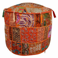 Peach Color Pouffe Cover Moroccan Footstool Vintage Patchwork Round Seat Ottoman