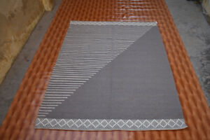 Southwest Area Rug 5x7 Hand Woven Gray Wool Rug Turkish Kilim Dhurrie Afghan