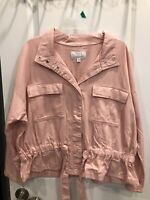 NWT Womens TIME and TRU Pink Crop Tie Waist Spring Utility Jacket  Medium 8-10