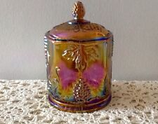 INDIANA GLASS CO. CARNIVAL GLASS CANDY JAR WITH LID 1970's AMBER