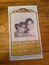 vintage 1982 banner tapestry calendar  photo image young boy & girl Kid Children