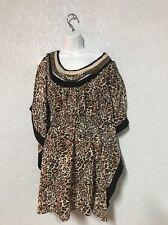 2b bebe Kimono Slit Sleeve Leopard Print Gold Sequin Dress Swimsuit Cover Up Xs