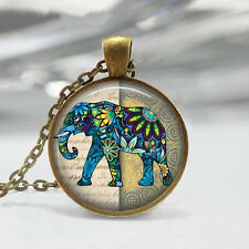 Vintage Elephant Cabochon Bronze Jewelry Glass Dome Pendant Necklace