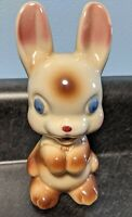 RARE! EUC! A+ Vintage Mid-Century Bunny Rabbit Ceramic Figurine Highly Glazed 6""