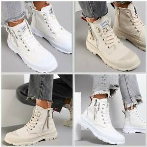 Ladies Canvas Casual Womens High Top Platform Lace Up Sneakers Trainers Shoes