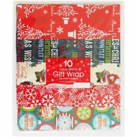 Xmas Large Gift Wrap Flat Sheets Christmas Wrapping Paper Assorted 50cm x 70cm