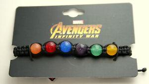 Marvel Comics Avengers Infinity War Thanos Stones glass Bead Bracelet New MOC