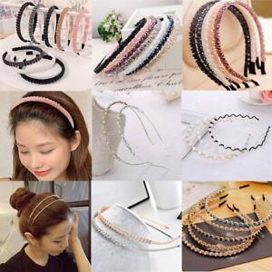 Women Rhinestone Hair Band Crystal Hair Hoop Handmade Fish Line Beaded Headband