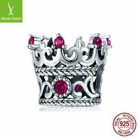 European Women 925 Sterling Silver The queen's crown Charm Pendant Fit Bracelet